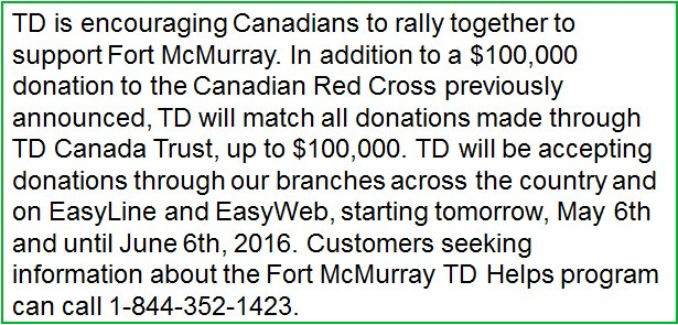Announcing additional TD support for #FortMacFire https://t.co/geyuFd75MB #ymmfire https://t.co/WQvli7vomo