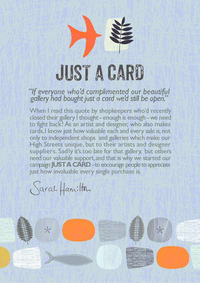 If you're passionate about independent shops, galleries & designer/makers then spread word. #justacard @Justacard1 https://t.co/JTj56P5MNw