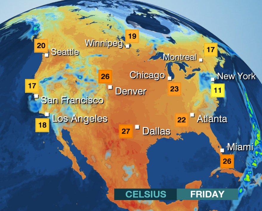 USA: Cool and wet at times on Friday in #NYC #LA and #SanFrancisco. Hot through the Plains/Midwest. MattT