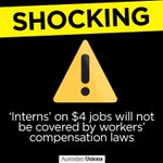 CONFIRMED: Interns will not be covered by workers compensation laws. Truly awful. ⚠️ #auspol #estimates #Budget2016 https://t.co/it0h3GkkS1