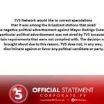 TV5 Official Statement: Duterte Political Ad https://t.co/w1q8fxwmtI