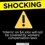 Interns on $4p/h jobs wont be covered by workers comp. pass it on. #auspol #Budget2016 https://t.co/Zqt8V4mSNM