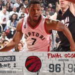 Ball game. Raps win! T.O. hangs on in overtime, evens the series 1-1. #WeTheNorth Stats: https://t.co/RKXEZpvxNI https://t.co/AWOPa2SF48
