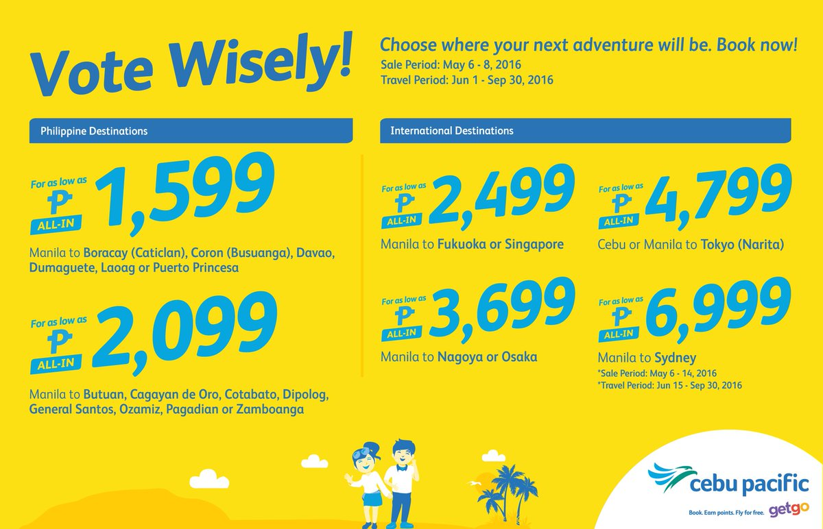 Let your voice be heard! Decide your future adventure with our CEBSeatSale! Book now!