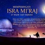 Selamat memperingati Isra Miraj 1437 H. Semoga dihari jumat ini menjadi hari yg penuh berkah.🙏 https://t.co/PIxcutgLyX