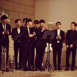 EXO in Seunghwans wedding yesterday. 160505 Seunghwan is EXOs manager https://t.co/OzTHCKZyNd