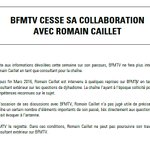 "@BFMTV annonce quelle ""cesse sa collaboration avec @RomainCaillet"" suite au papier de @lobs https://t.co/33Nhi81Jvv https://t.co/vstxtPPCz1"