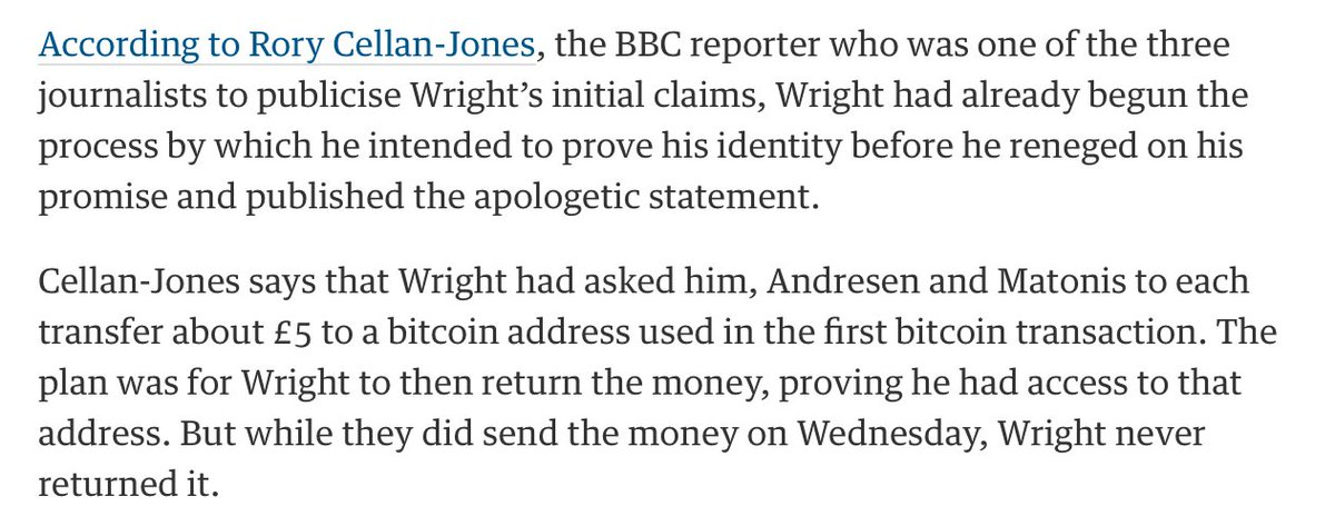 "I really hope this entire ""I created bitcoin"" story was a baroque scam to con three journalists out of fifteen quid https://t.co/zJ5BZeWZbD"
