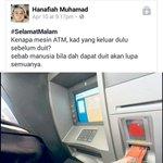 Dah lebih 20 tahun hidup, baru aku tahu kenapa mesin ATM keluarkan kad dulu sebelum duit. Huhu https://t.co/JVf09ZC2RR