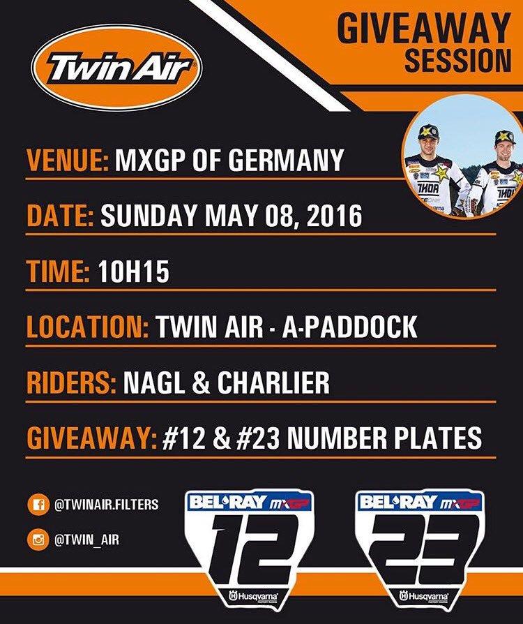 Rendez vous ce dimanche au stand de Twin Air à 10h15 pour récupérer des plaques dédicacées 😉✊ #MXGP #Teutschenthal https://t.co/hvnd5mpCxW
