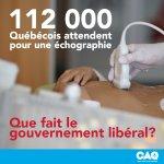 #CAQ dévoile que + de 112 000 Qcois attendent une échographie souvent + de 3 mois #polqc https://t.co/hZNu1GsbLD https://t.co/fBheN3K5bS