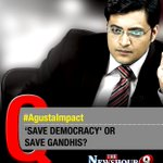 Debating on @thenewshour at 9 with Arnab Goswami: Save Democracy or Save Gandhis? #AgustaImpact https://t.co/kEcJJnuIXs