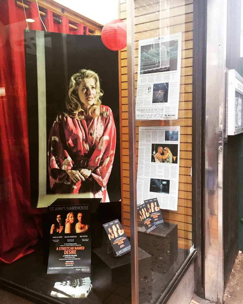 Our lovely friend @GillianA graces the #Streetcar window at @dramabookshop. Stop by to give her a wave & #buyabook! https://t.co/1OCFI9TTRN