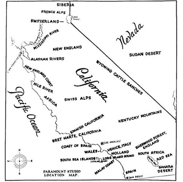 @Katrography Paramount Studios' 1927 map for international shooting locations in California. https://t.co/EhdUuejfIq