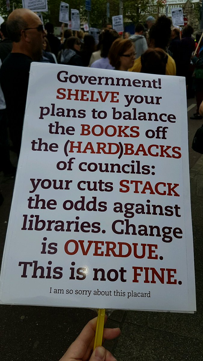 I found the #SaveLewishamLibraries situation quite hard to sum up succinctly on a placard – but I do like puns https://t.co/FTqmImoY7u