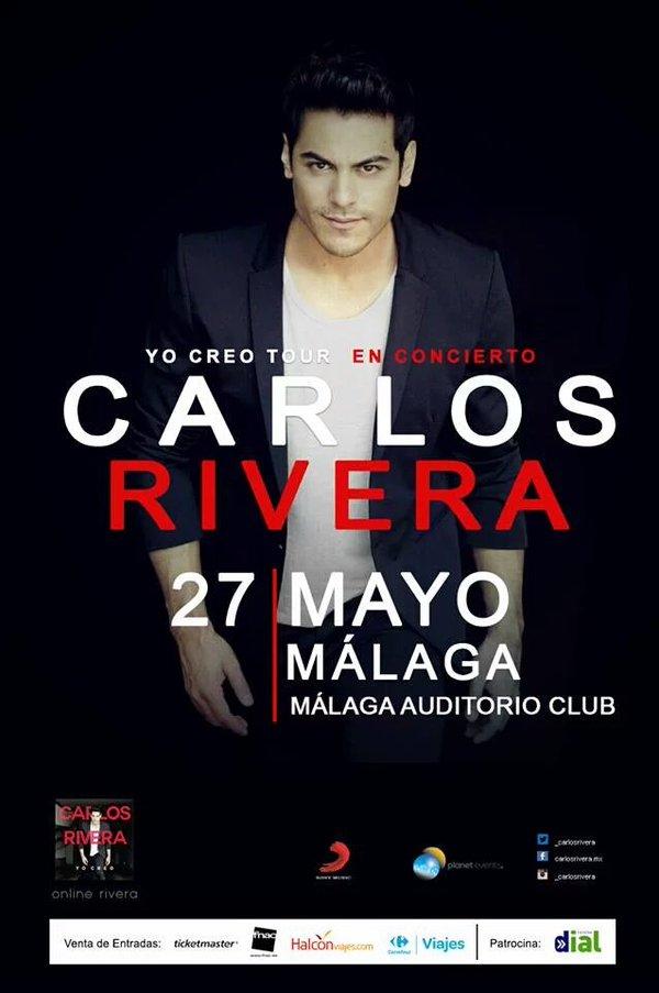 . @_CarlosRivera en concierto el 27 mayo en el MAC de @Fycma. Entradas en @TicketmasterES y @MalagaEntradas https://t.co/0LjRxP3dkC