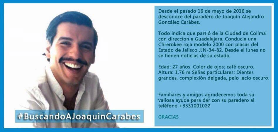 Familiares de Joaquín Alejandro González Cárabes, egresado de Diseño, piden apoyo para localizarlo. @itesoegresados https://t.co/BNGWbDviA1