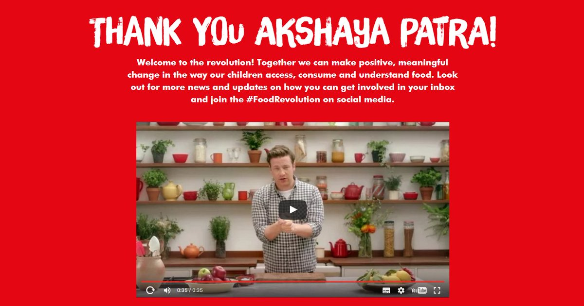 RT @UKAkshayaPatra: Akshaya Patra is thrilled to be partnering with @jamieoliver and @FoodRev in #India for #FoodRevolution Day tomorrow ht…