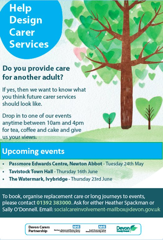 Tell @DevonCC how improve services for you as #carers at events or email socialcareinvolvement-mailbox@devon.gov.uk https://t.co/Qc3gMRxz9H