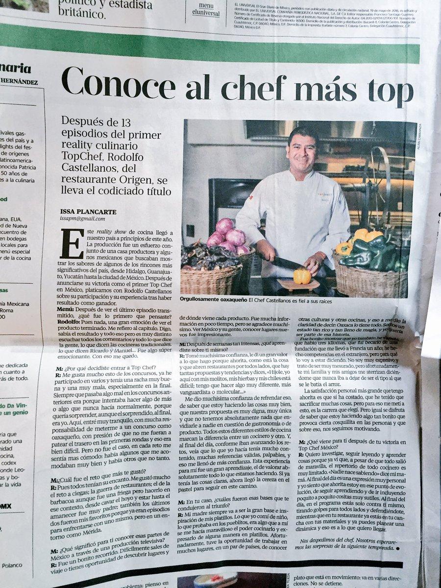 Busquen mi texto en @menueluniversal sobre @chefrodocas de @origenoaxaca, el primer ganador de @topchefmx. https://t.co/UspDa4Lgo3