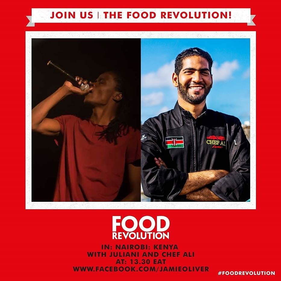 RT @JulianiKenya: Sisi haoooo!!  #FoodRevolution! Can't wait to cook with @Chefalilartiste https://t.co/s3oz7HB2kn