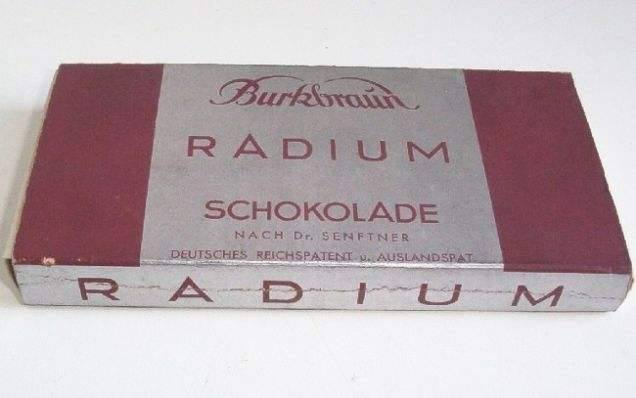 Radioactive Chocolate Bar, c.1931. The German company claimed it made people younger. https://t.co/pl3NBkUnsd