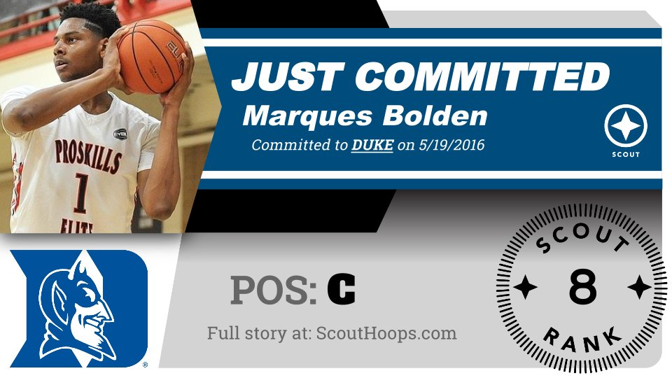 "Marques Bolden has committed to Duke, he tells Scout | ""I'm very excited."" 