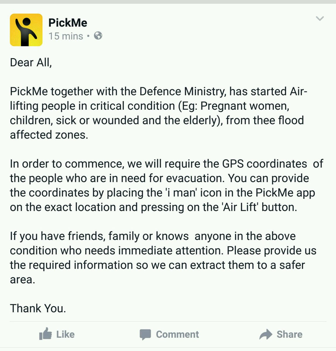 ". @PickMeLK has partnered with Air Force to airlift people in critical conditions. Use ""Air Lift"" button to request. https://t.co/I0cNvKIUrJ"