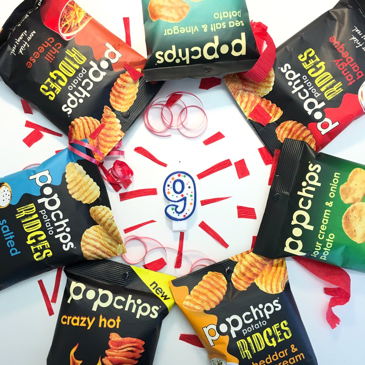 it's our 9th bday & to celebrate we're giving 9 lucky snackers a month of #popchips. just follow & RT to enter