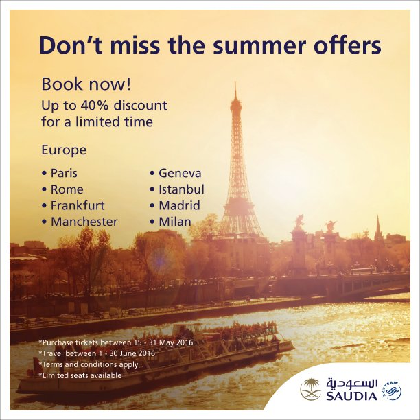 Don't miss the summer offers to Europe  Book now and enjoy up to 40% discount