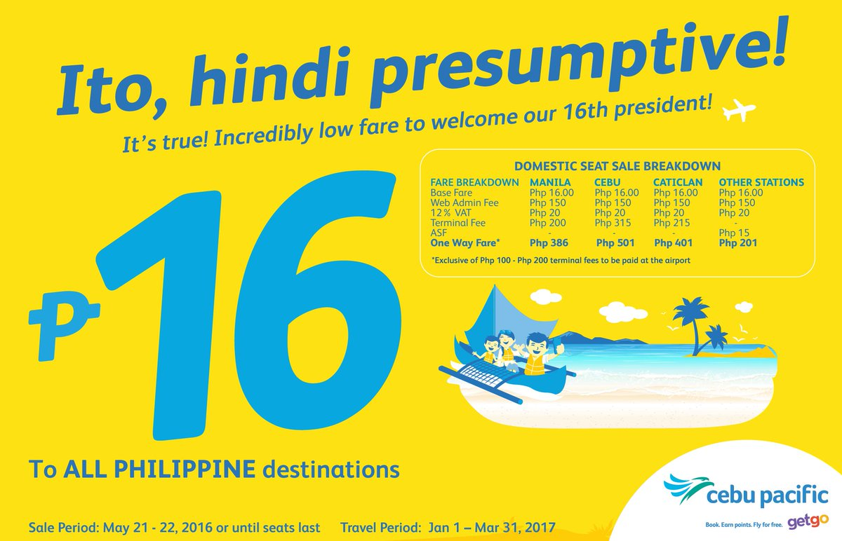 Welcome our 16th president with a new CEBSeatSale! Exclusive to online booking 'til May 22!
