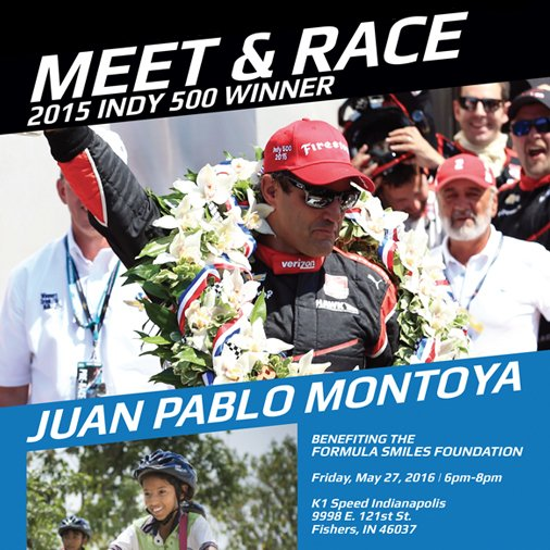 Meet & Race 2015 #Indy500 winner @jpmontoya benefiting the Formula Smiles Foundation - https://t.co/8NSQohzRuy https://t.co/L4q82ziE5N