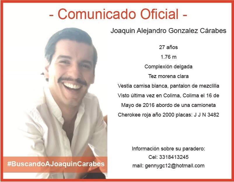 Familiares de Joaquín Alejandro González Cárabes, egresado de Diseño, continúan en su búsqueda. Favor de difundir. https://t.co/gDF8Jd9MLT