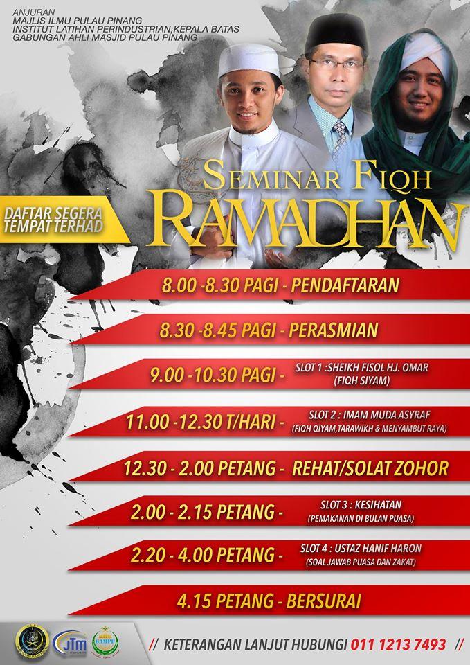 @twt_penang RT pls. Thanks ;)  Seminar Fiqh Ramadhan 4 Jun 2016 ILP Kepala Batas Anjuran Majlis Ilmu Pulau Pinang https://t.co/nWTOglEBd9