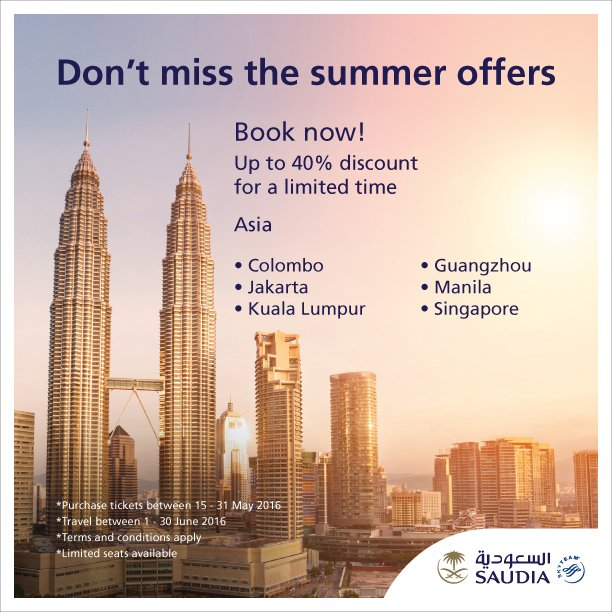 Don't miss the summer offers to Asia  Book now and enjoy up to 40% discount