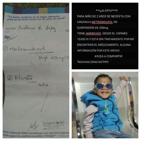 via @amoamali:   **CON URGENCIA** para niño de 2 años METRONIDAZOL 250mg en SUSPENSIÓN. 1 semana sin tratamiento https://t.co/b597jTc4c2