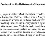 Statement from @POTUS on the retirement of U.S. Rep. Mark Takai. #Hawaii https://t.co/kEevr71qxL
