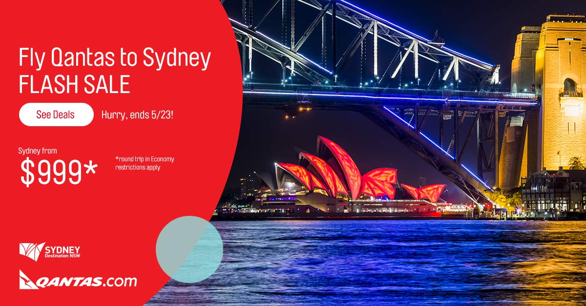 Thinking Sydney? Qantas deals from $999* RT Economy, LAX departures. *Restrictions apply -