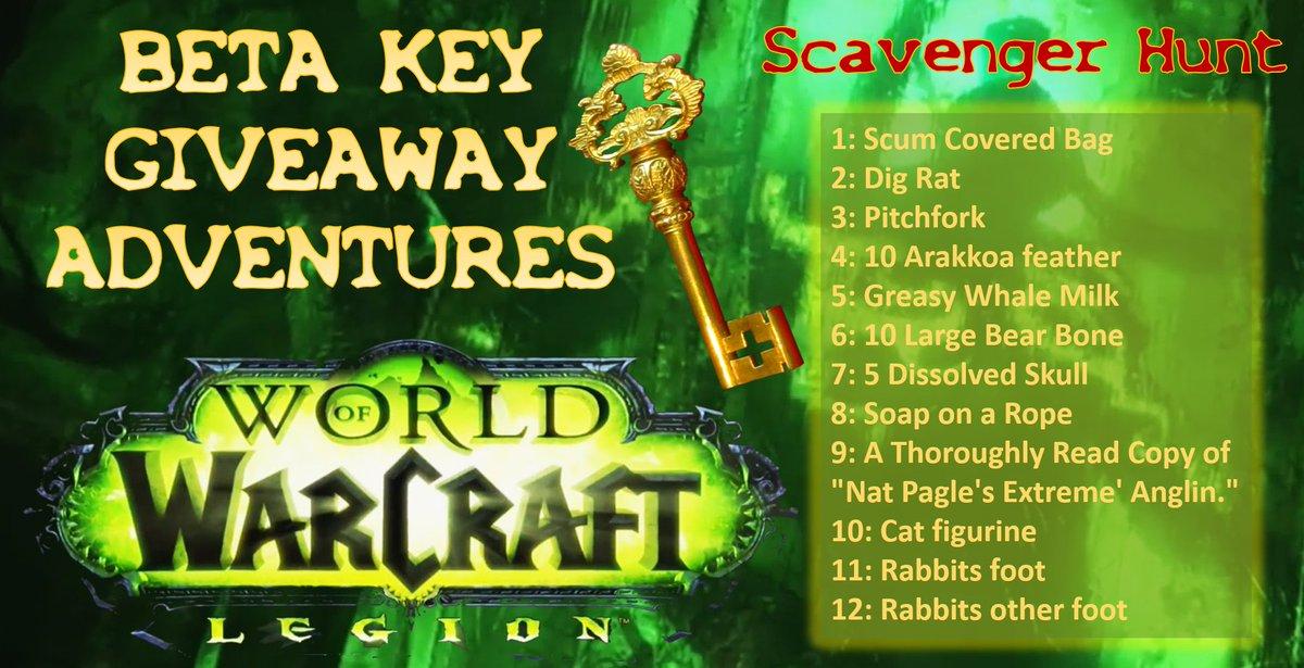 Legion Beta Key Scavenger Hunt, reply pic with 10 of the items / first 10 replies wins code @Warcraft #betahunt https://t.co/d1LT8O6W1h