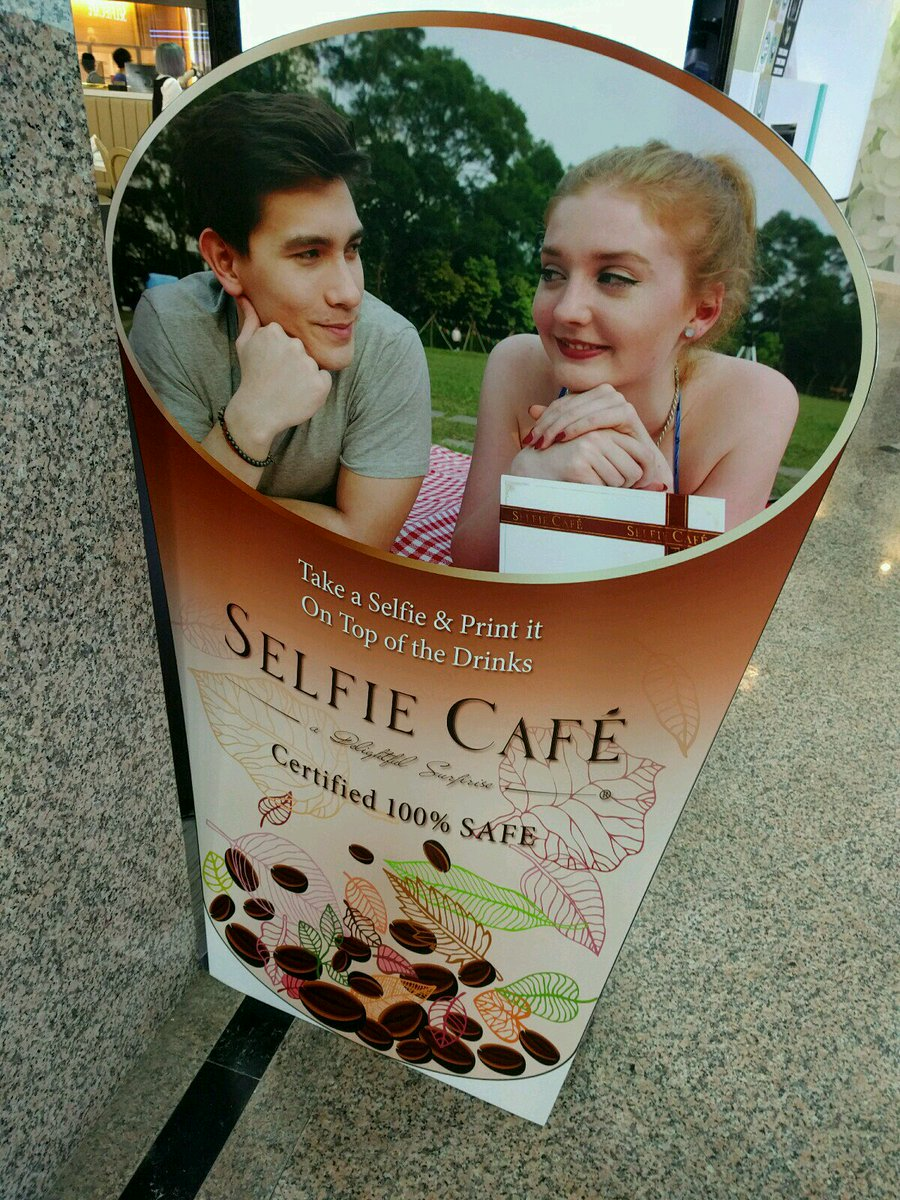 And then I got up there and no seriously, it's a selfie café. They will print your selfie on a latte, macaron, etc. https://t.co/g9nvywIBEF