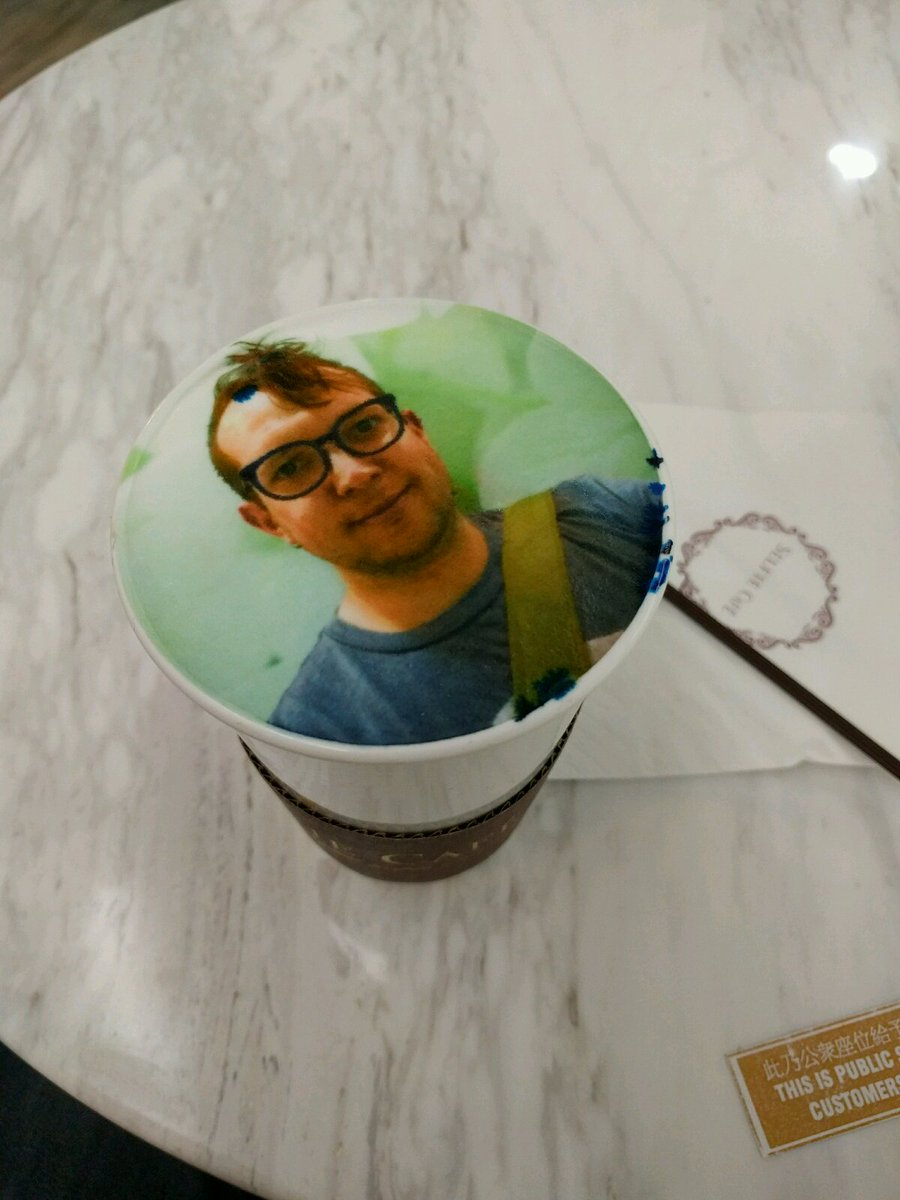 BEHOLD, my face in (on?) a latte! I am just as weirded out as you are, but I'm the one who has to drink it. https://t.co/nt5ODbiPk5