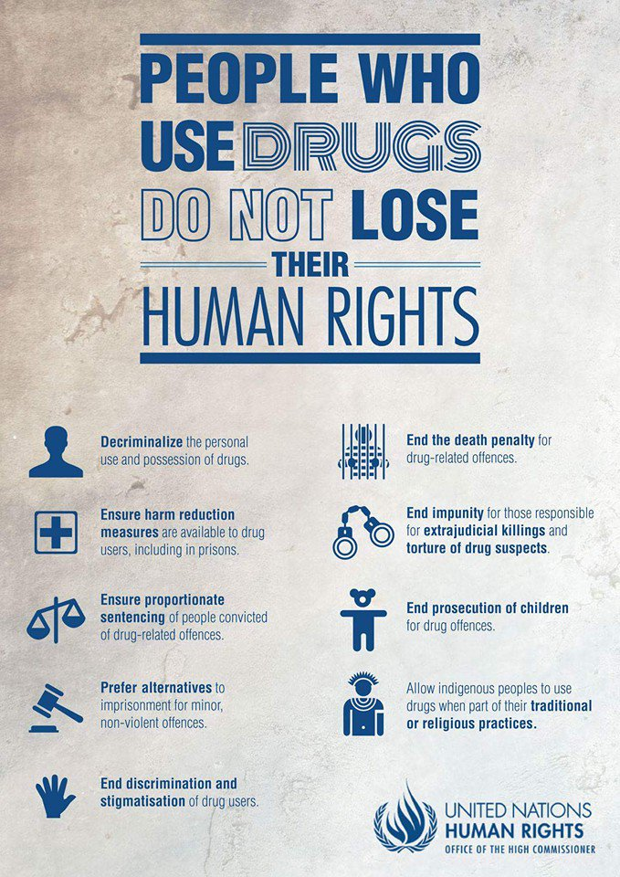 Great graphic from @UNHumanRights: just b/c certain people use certain drugs, they do not forfeit their human rights https://t.co/ZsfR6mDjck