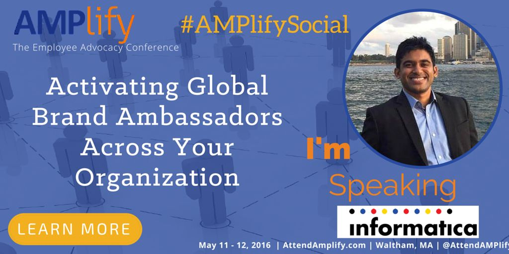 Informatica's @piyush_social to speak on #EmployeeAdvocacy at #AMPlifySocial this week https://t.co/9MrM5P6SaC https://t.co/eUIE6Q8qJw