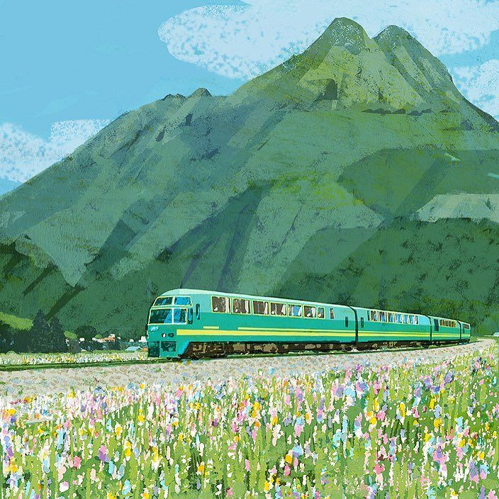 特急ゆふいんの森と由布岳 #train #kyushu #yufudake #flowers #mountain #life #lifestyle #illustration #illustrator #tatsurokiuchi… https://t.co/XtWa1XmEwa
