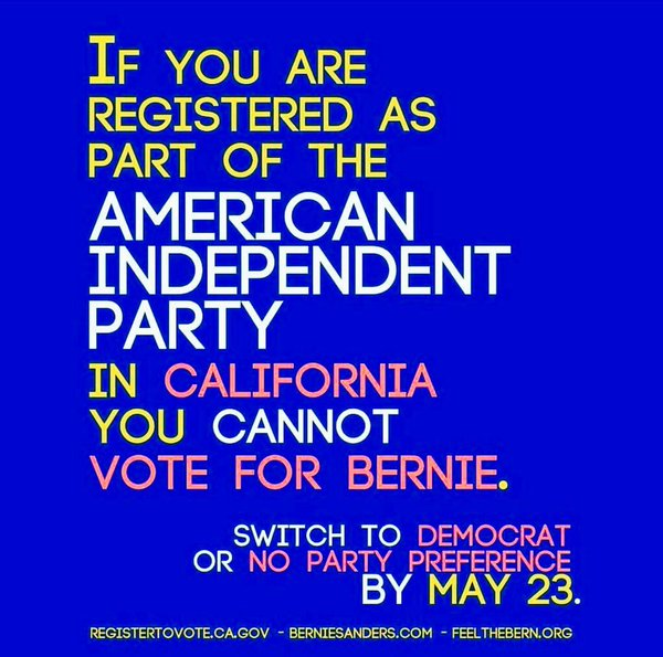 "BERNIE ALERT: CALIFORNIA! 500K+ voters are incorrectly registered w/ the ""American Independent Party"" #Maddow https://t.co/TFXHq58iyH"