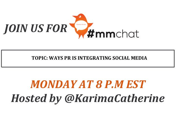 Join us at 8pm with @KarenSwim to discuss #socialMedia & #pr. It's going to be awesome! @amvandenhurk will co-host. https://t.co/iNrrqWbGuP
