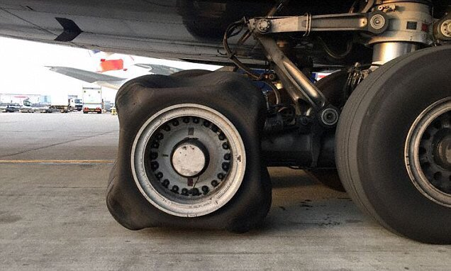Aviation experts baffled after British Airways A380 lands at Heathrow with a SQUARE tyre