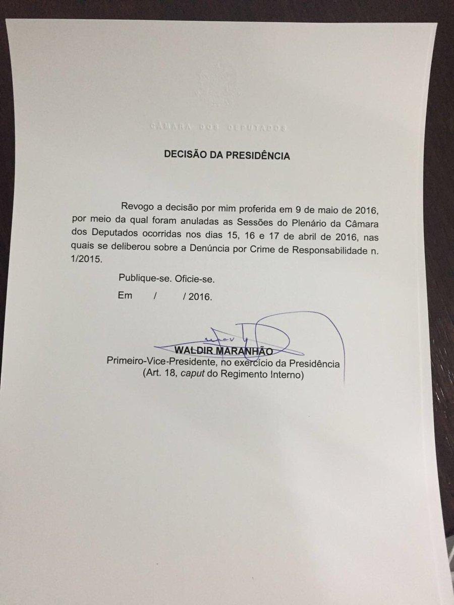 Urgente - O colunista @muriloqramos descobriu que Waldir Maranhão revogou a própria decisão de anular o Impeachment. https://t.co/R9opukzmlb