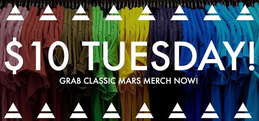 RT @MARSStore: Complete your #MarsMerch collection! $10 Tees + Accessories await, on sale 'til 11:59 PM PT: https://t.co/imc5I6bDPw https:/…
