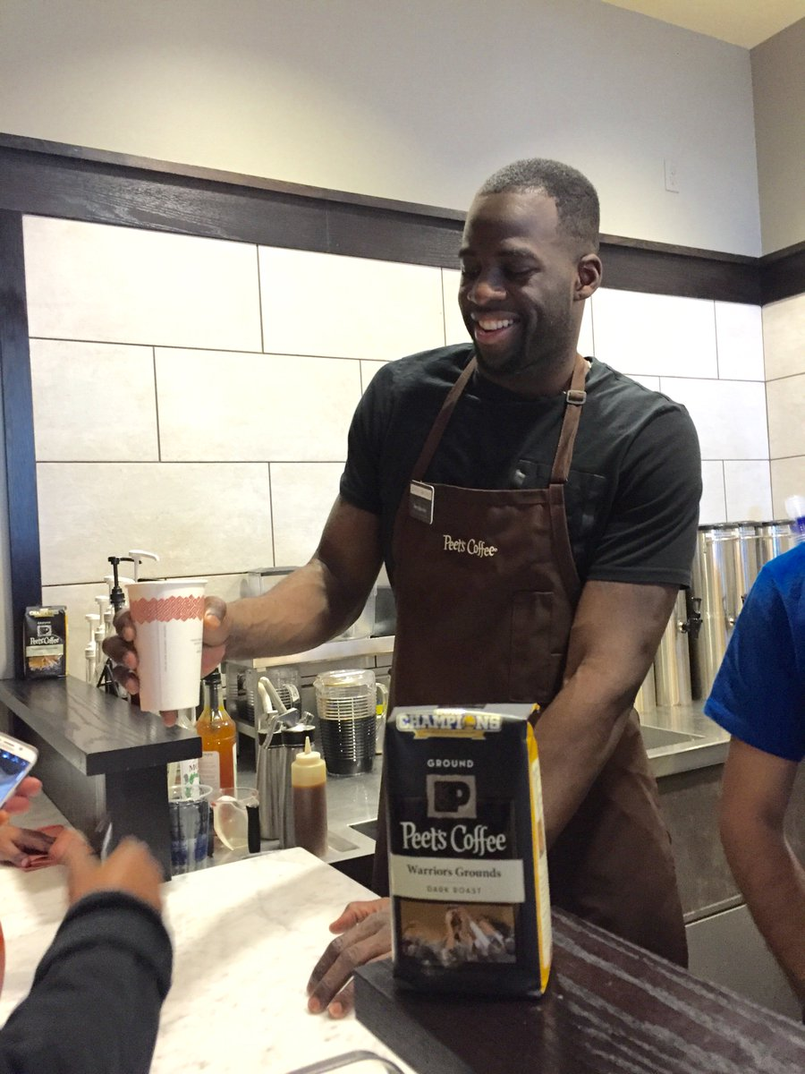 Cheers and a vote for Peet's MVP & top-notch Barista @Money23Green for the #NBACommunityAssist award! #DraymondGreen https://t.co/kYIGLBaFFA